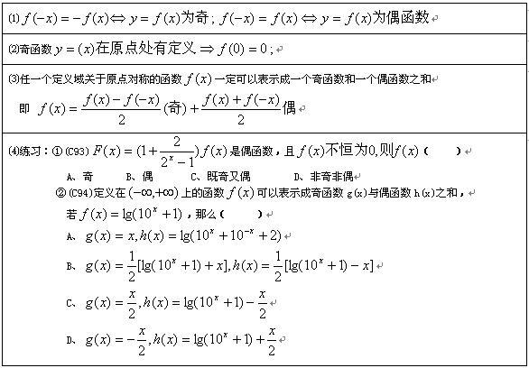 函数的奇偶性(首先定义域必须关于原点对称)
