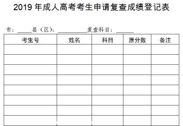 2019年成人高考考生申请复查成绩登记表